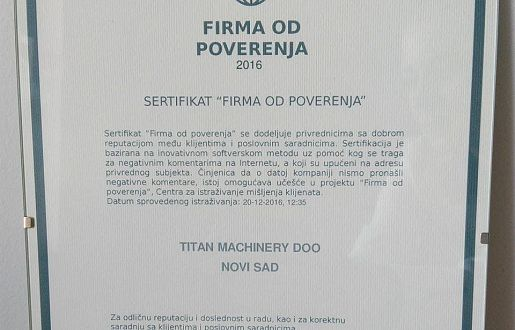 TITAN MACHINERY JE FIRMA OD POVERENJA!